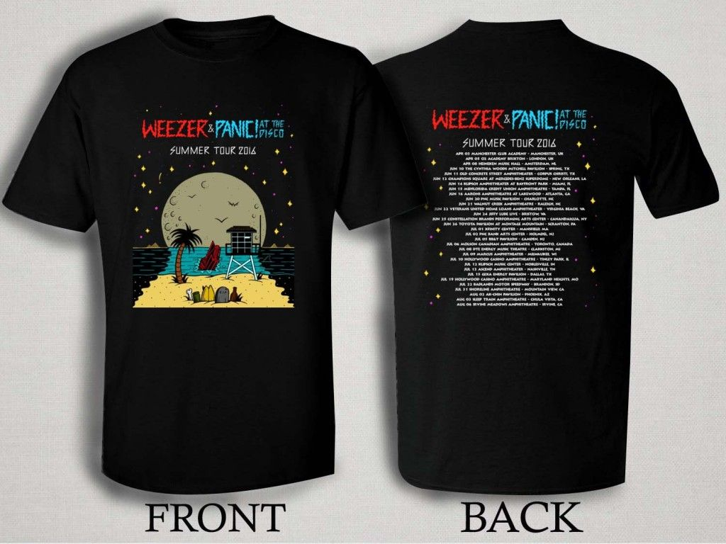a52f3b56c Weezer and Panic At The Disco 2016 T Shirt Size S,M,L,XL,2XL,3XL ...