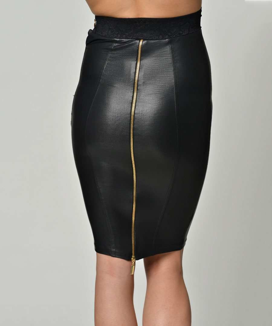 The gallery for -- Black Faux Leather Pencil Skirt | leather_skirt ...