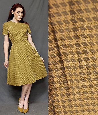Vintage 50s 60s Gold Houndstooth Dress PinUp VLV Small