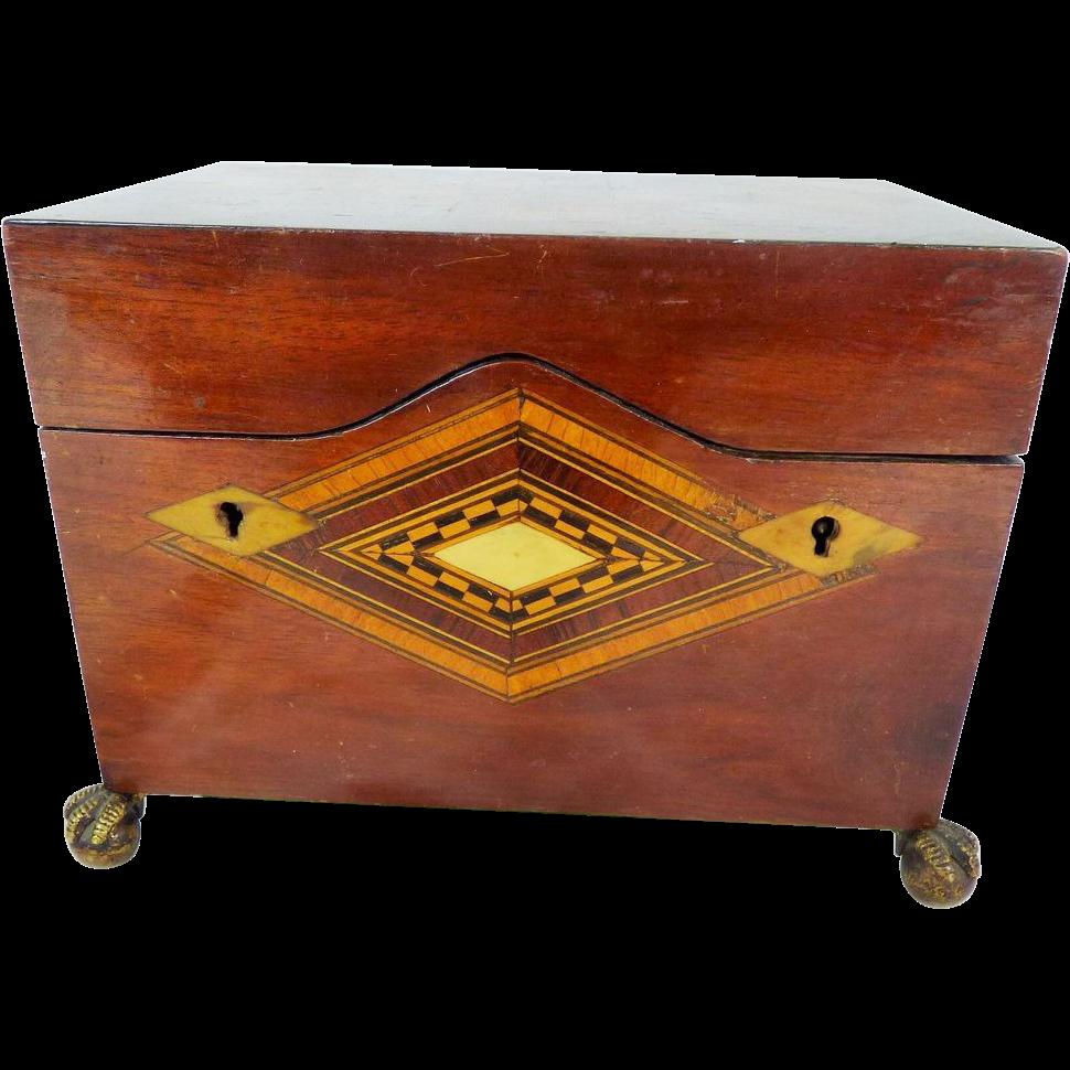 Antique furniture - Antique Tumbridge Ware Tea Caddy Box Two Locks Antique Furniture