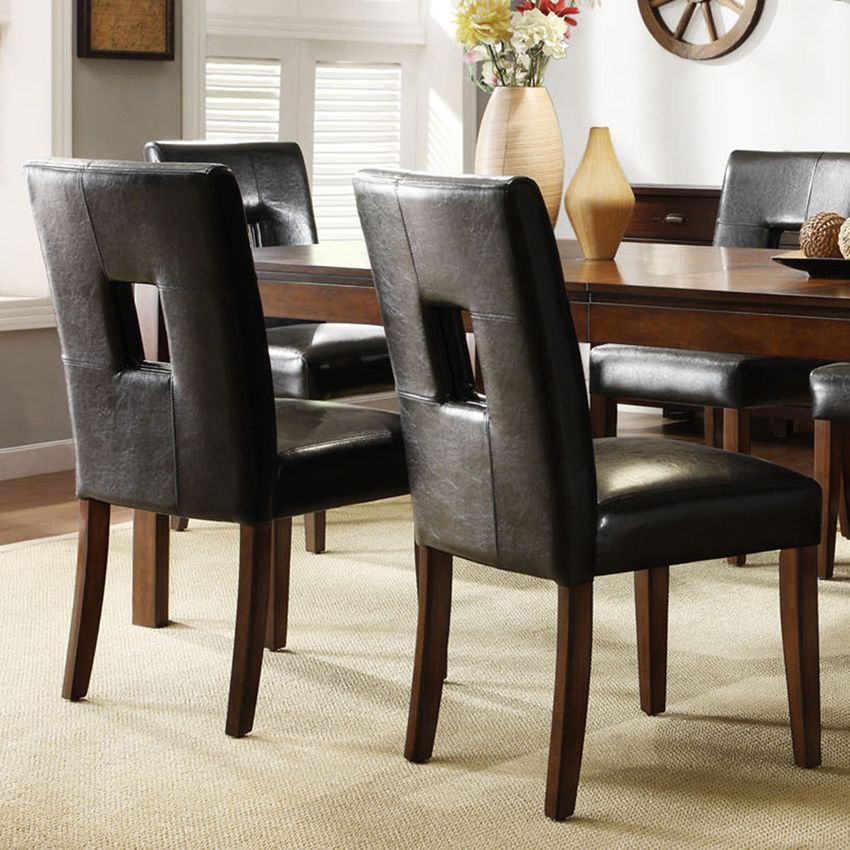 TRIBECCA HOME Mendoza Cherry Finish Black Keyhole Back Dining Chairs (Set  of 2) by Tribecca Home - TRIBECCA HOME Mendoza Cherry Finish Black Keyhole Back Dining