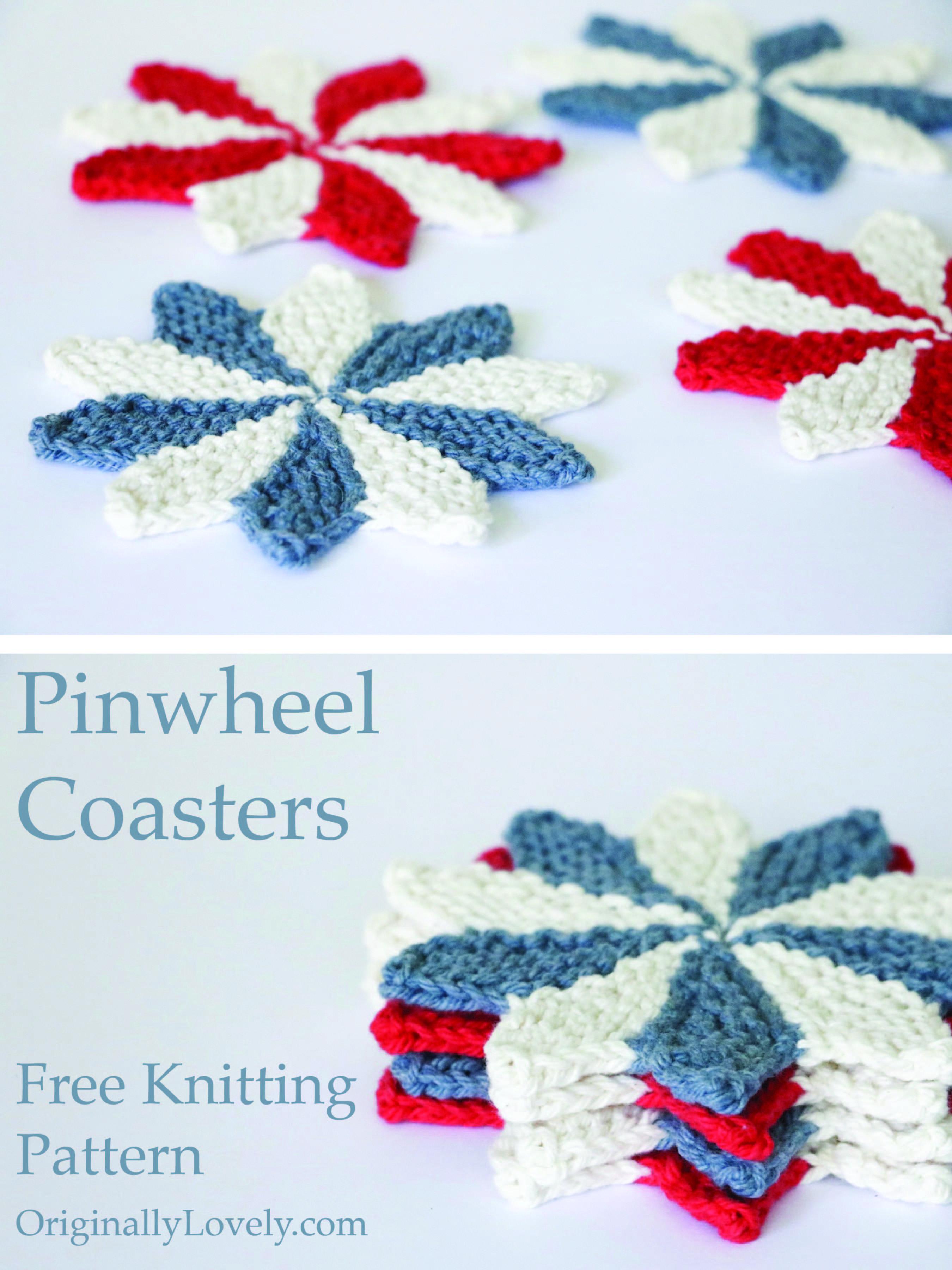 Pinwheel Coasters Knitting Pattern | Designer knitting ...