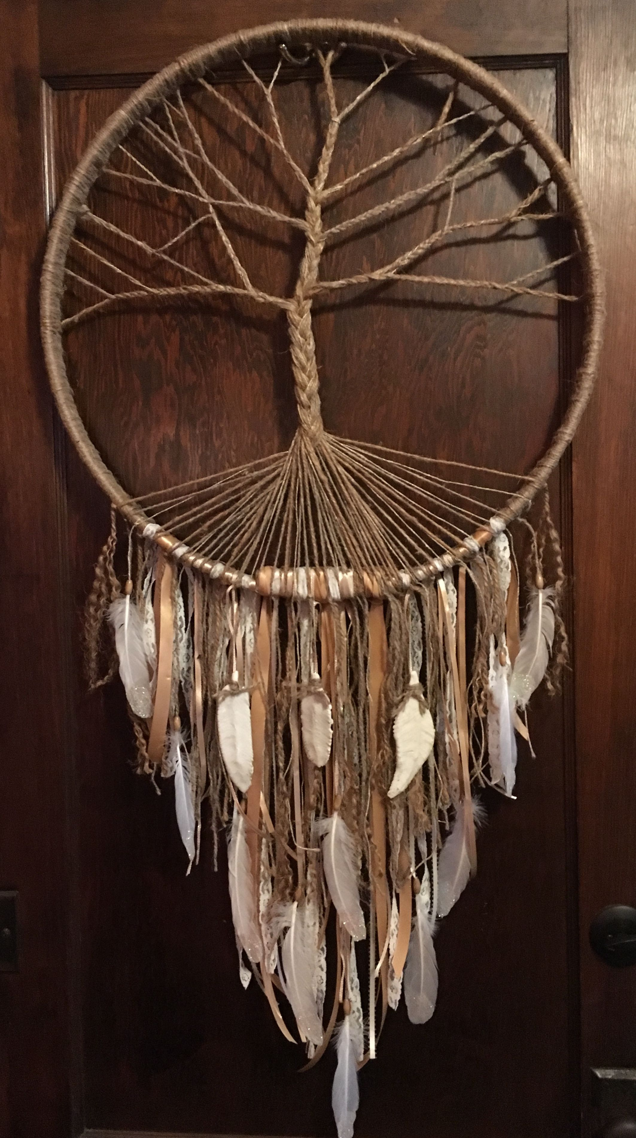 Tree of Life dream catcher made from an extra large hoop, ceramic pieces etc. Made by Faye Leigh. #dreamcatcher