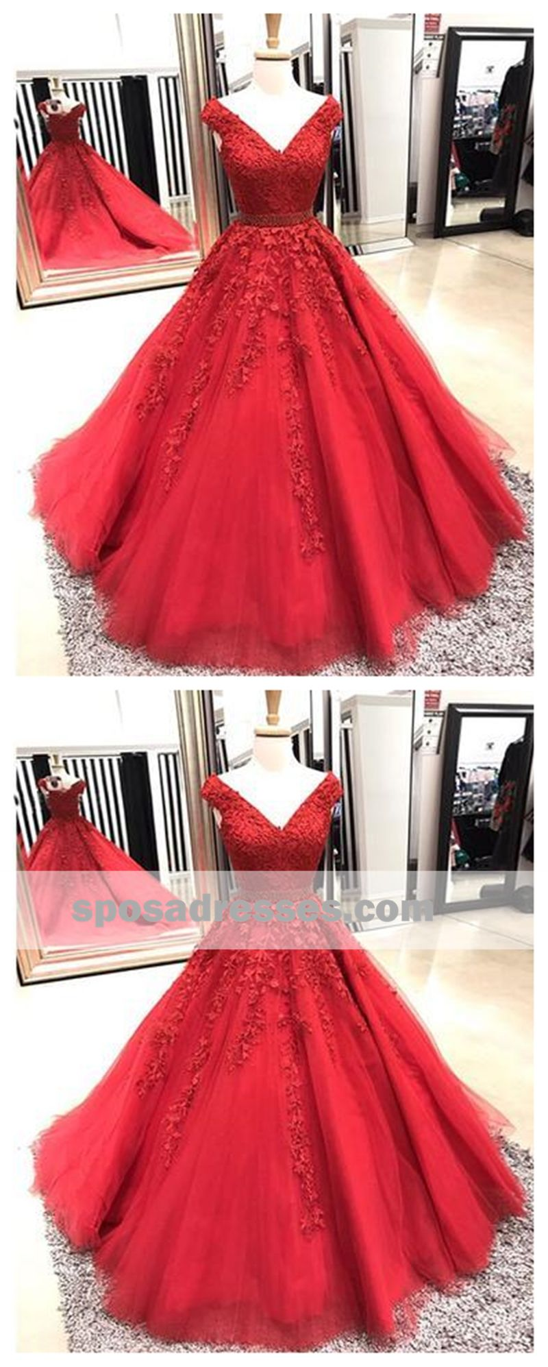 Off shoulder red aline lace custom long evening prom dresses
