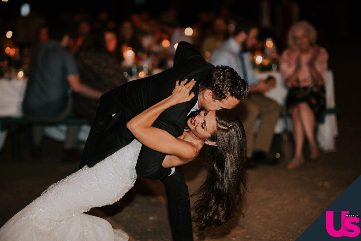 "The perfect dip at ""Bachelor"" alum Britt Nilsson's wedding! ""Brielle"" wedding gown by Matthew Christopher.  #marriedinmatthew  Photo: Amy Vafa | Salon: Bridals by Lori"