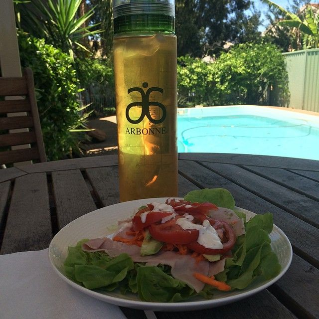 The perfect lunch... ham, tomato, carrot, avocado and mayo in a lettuce leaf wrap.  Washed down with an Arbonne Citrus Fizz Stick :)
