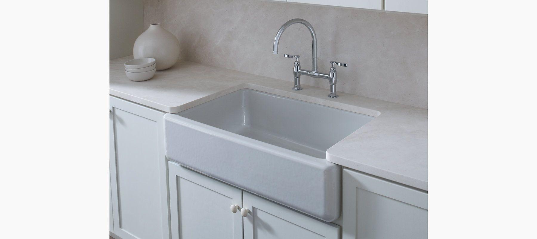 The classic beauty of the K-6489 single-basin, enameled cast iron ...