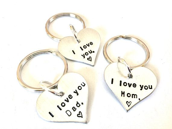 Hand Stamped Heart Keychain Custom Personalized Fab Split Ring Men s Women s  I love you Dad Mom 0cc6d94a2b