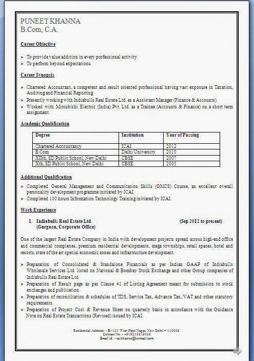 cfo resume samples Excellent Curriculum Vitae \/ CV Format with - chartered accountant sample resume