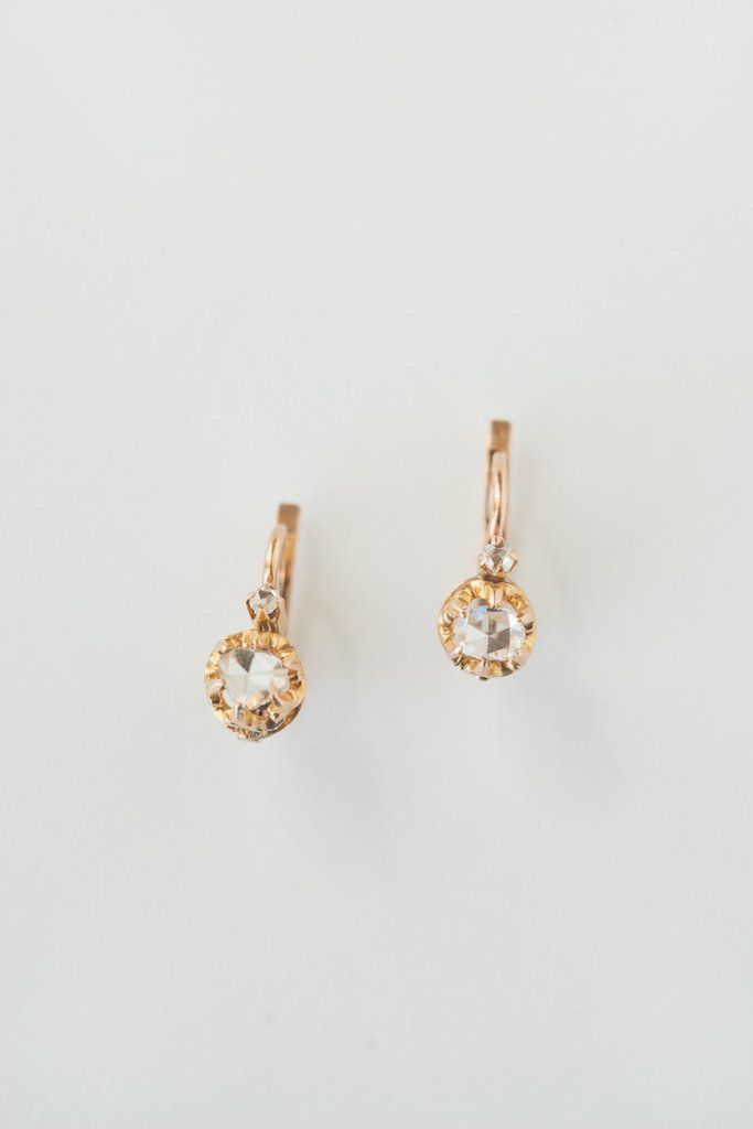 Antique French Rosecut Diamond Earrings 18k Rose Gold