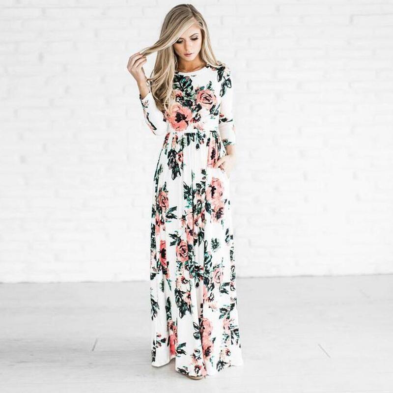 12c23f3e4e White Floral Maxi Dress