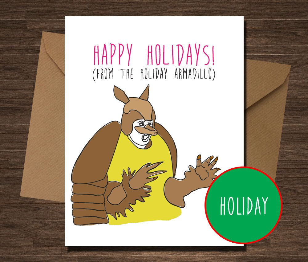 Friends Tv Show Holiday Armadillo Funny Christmas Hanukkah Card By