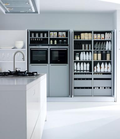 Küchenschrank Modern systeme für kleine küchen küchenschrank mit versenkbaren türen