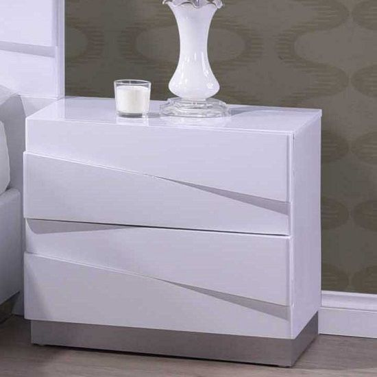 Stirling Bedside Cabinet In White High Gloss With 2 Drawers Furniture In Fashion Bedside Cabinet Bedside Cabinet Modern Wooden Bedside Cabinets