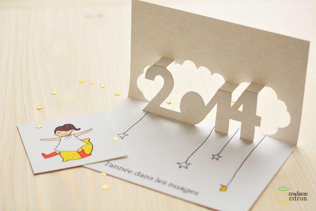DIY : une carte de voeux pop up à imprimer pour 2014 | Carte de
