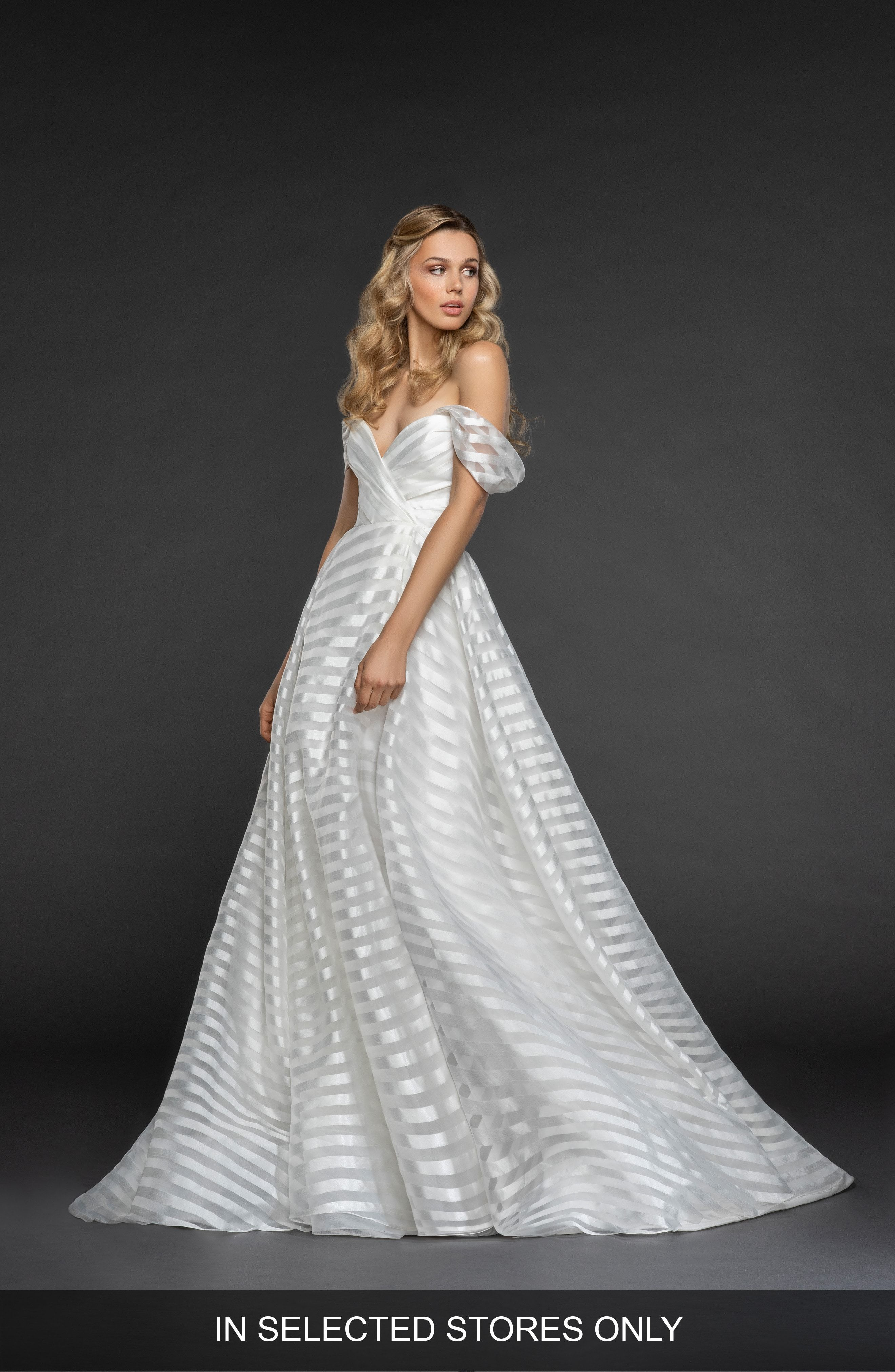 harley stripe off the shoulder organza gown hayley paige