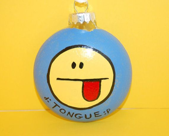 Facebook Emoticon Tongue Christmas Tree By Alihlbestcreations Hand Painted Ornaments Christmas Tree Holiday Crafts