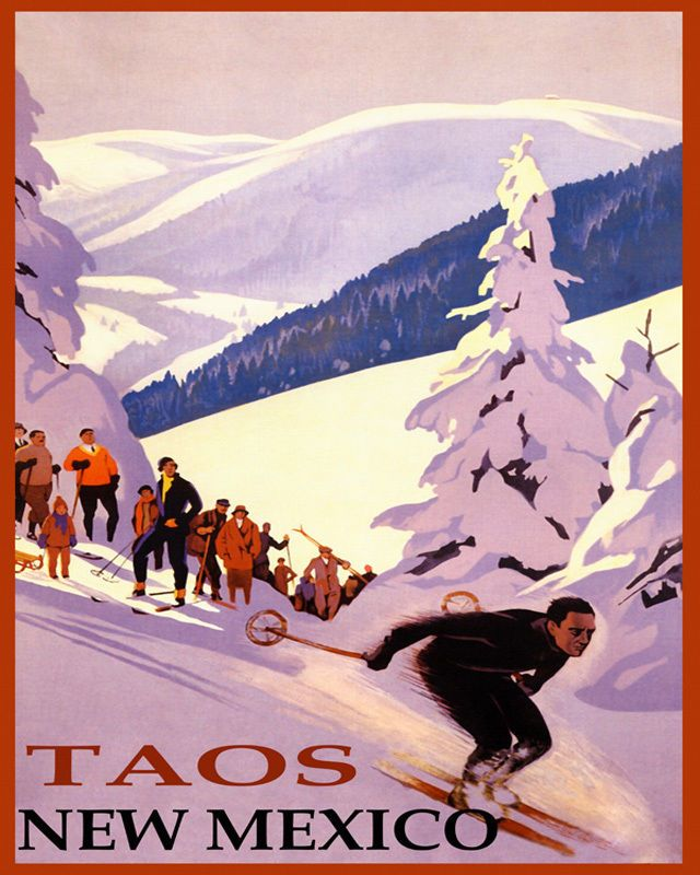 POSTER WINTER SPORT TAOS NEW MEXICO SKI MOUNTAINS SKIING VINTAGE REPRO FREE S//H