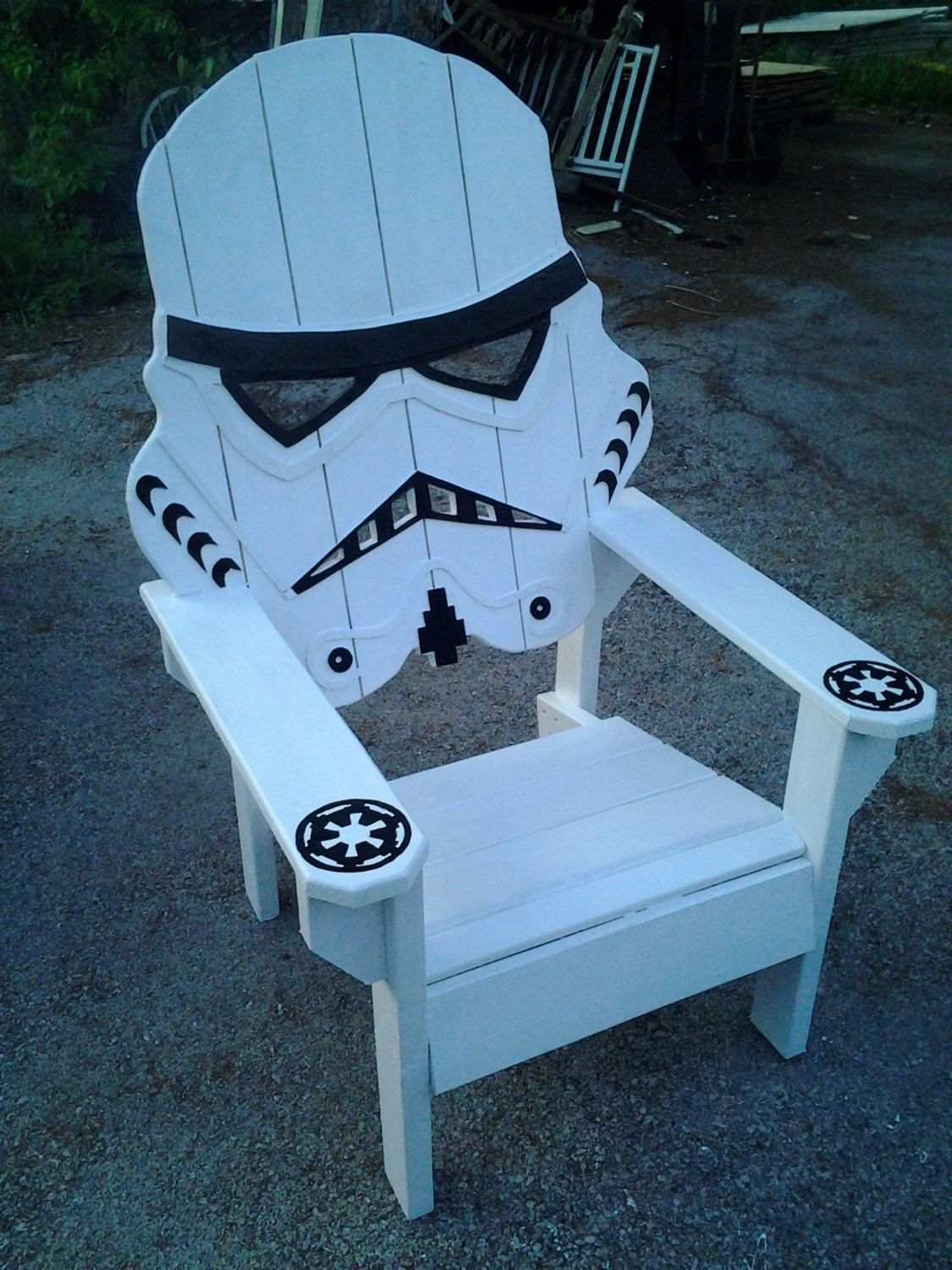 Wooden beach chair back - Relax After A Long Day Of Battling Rebel Scum By Plopping Down On The Stormtrooper Wooden Lawn Chair This Handmade Furniture Features All Wood Construction