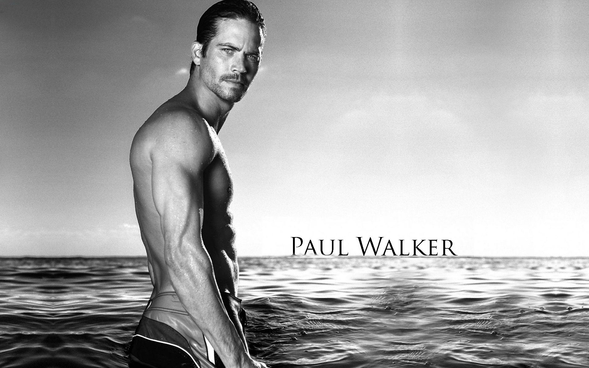 paul walker on the beach black and white photo edited wallpaper hd