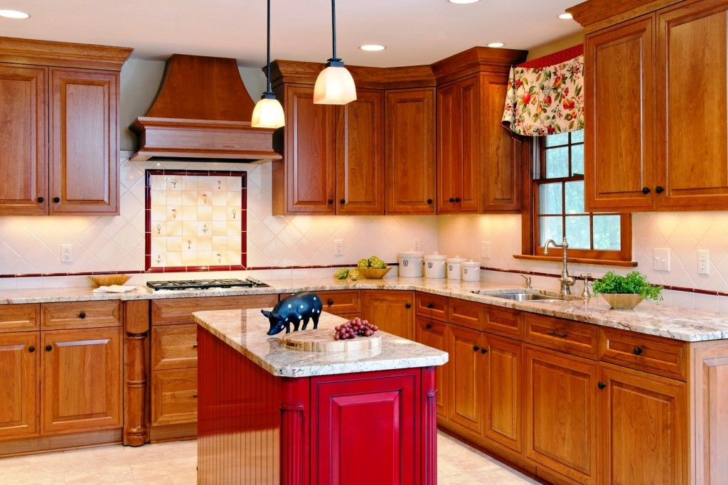 Great Kitchen Islands Painted Red | Small Kitchen Island Designs Red Kitchen