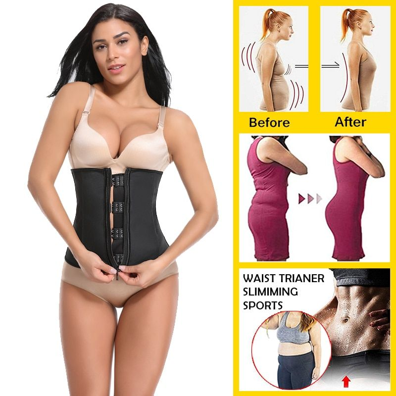 931ade521e Miss Moly Latex Waist Trainer Body Shaper Women Corsets with Zipper Hot  Shapers Cincher Corset Top  SlimmingBelt Black Plus Size