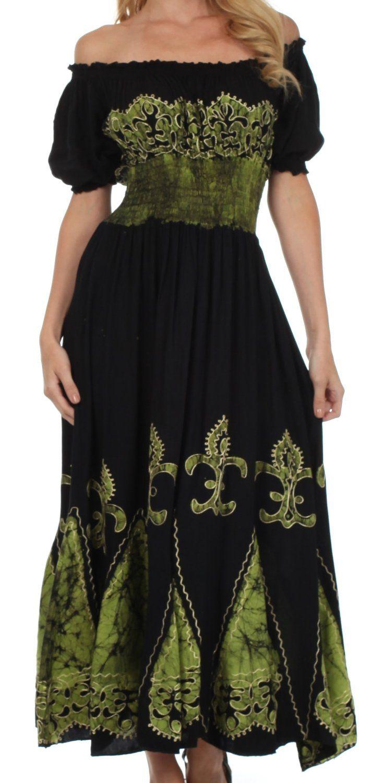Sakkas Batik Fleur De Lis Embroidered Peasant Dress