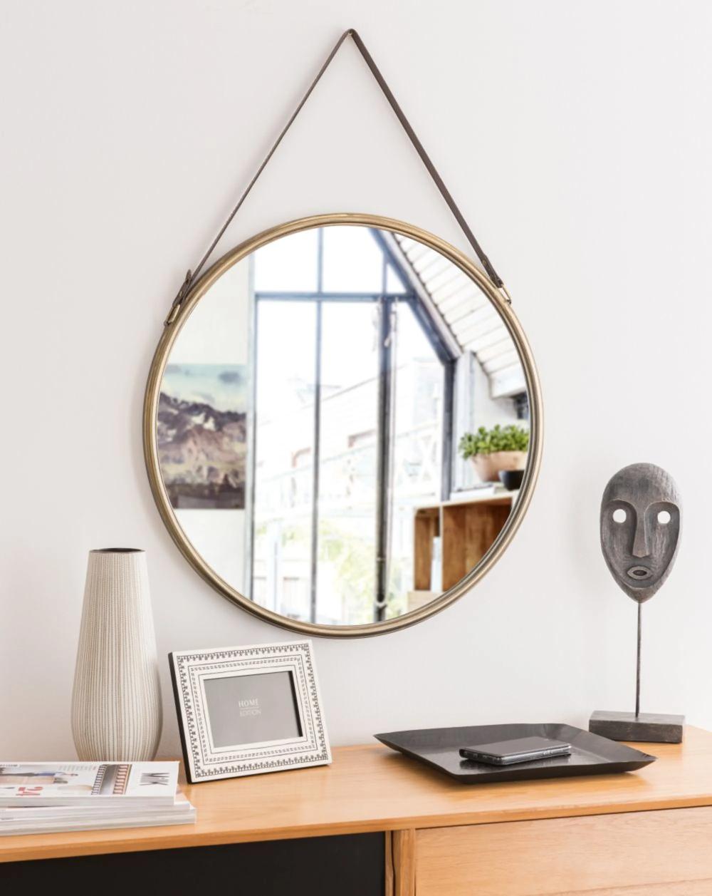 Miroir rond en métal doré D12   Maisons du Monde   Miroir rond ...