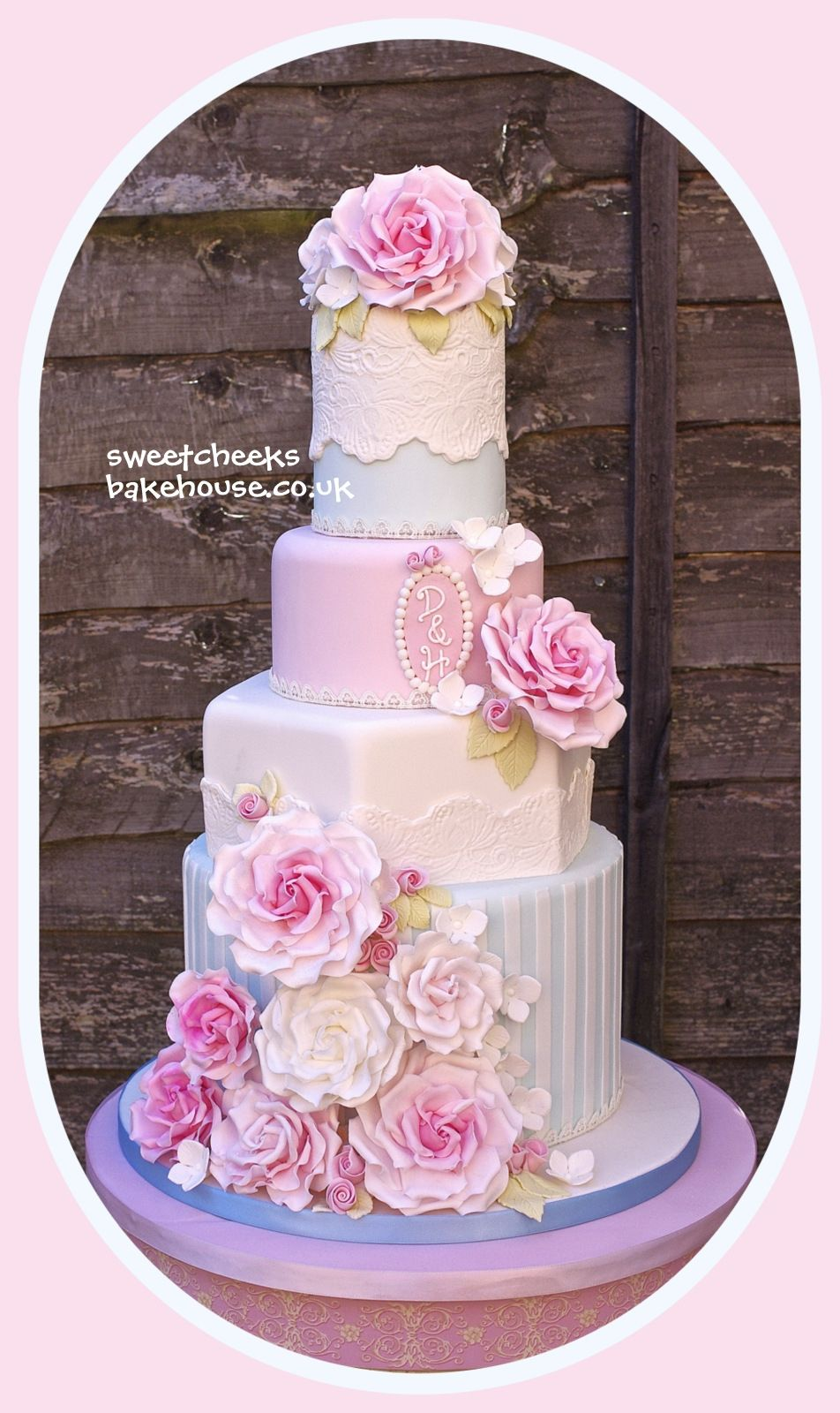 Rose stripe cake - This is another design for 2013.  Everything on the cake is edible and hand made by me. This has to be my favourite cake at the momment. I love the colours infact everything about it!!!  There is a tv programme on at the momment in the UK called the paradise and this cake makes me think about this programme so much!!!  I have lots of orders for this style cake all in different colour combo?s so can?t wait to design them xx