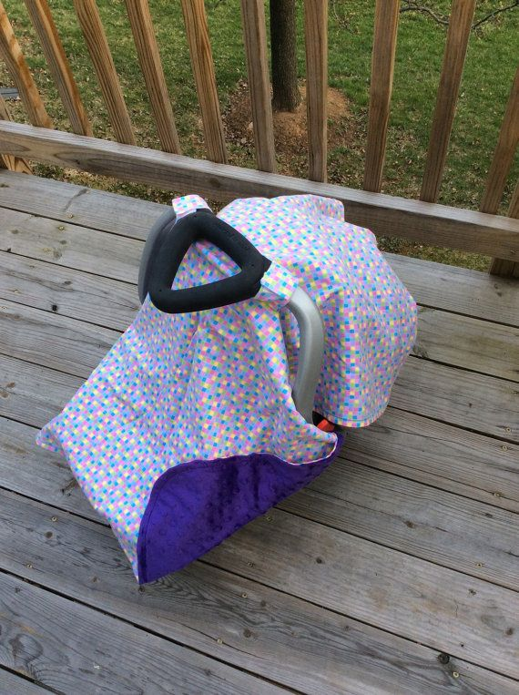 Pastel and minky car seat canopy by BBsBanners on Etsy