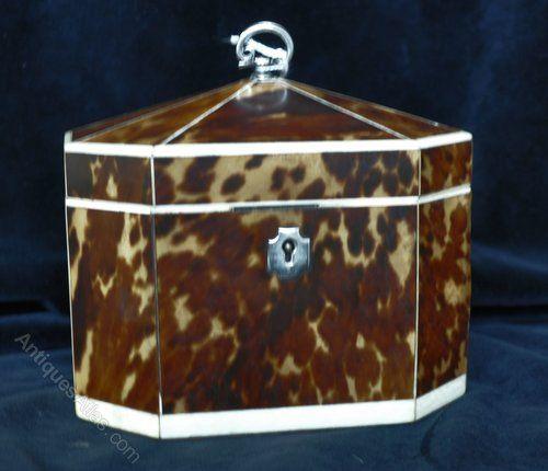 Antiques Atlas - George III Tortoise Shell And Ivory Tea Caddy