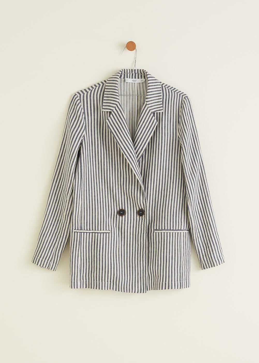 6f02014f Prugasti laneni sako - f foSakoi Žene | MANGO Hrvatska Linen Blazer,  Striped Linen,