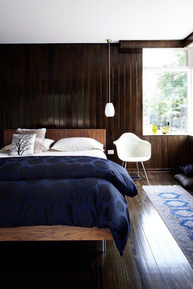 Modern bed back paneling home.