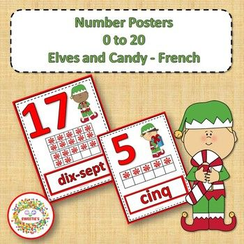 Number Anchor Charts 0 to 20 with Ten Frames - Christmas - French