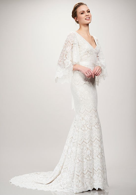 Flowy Bell Sleeve Mermaid Wedding Dress | Sandy by Theia | TREND ...
