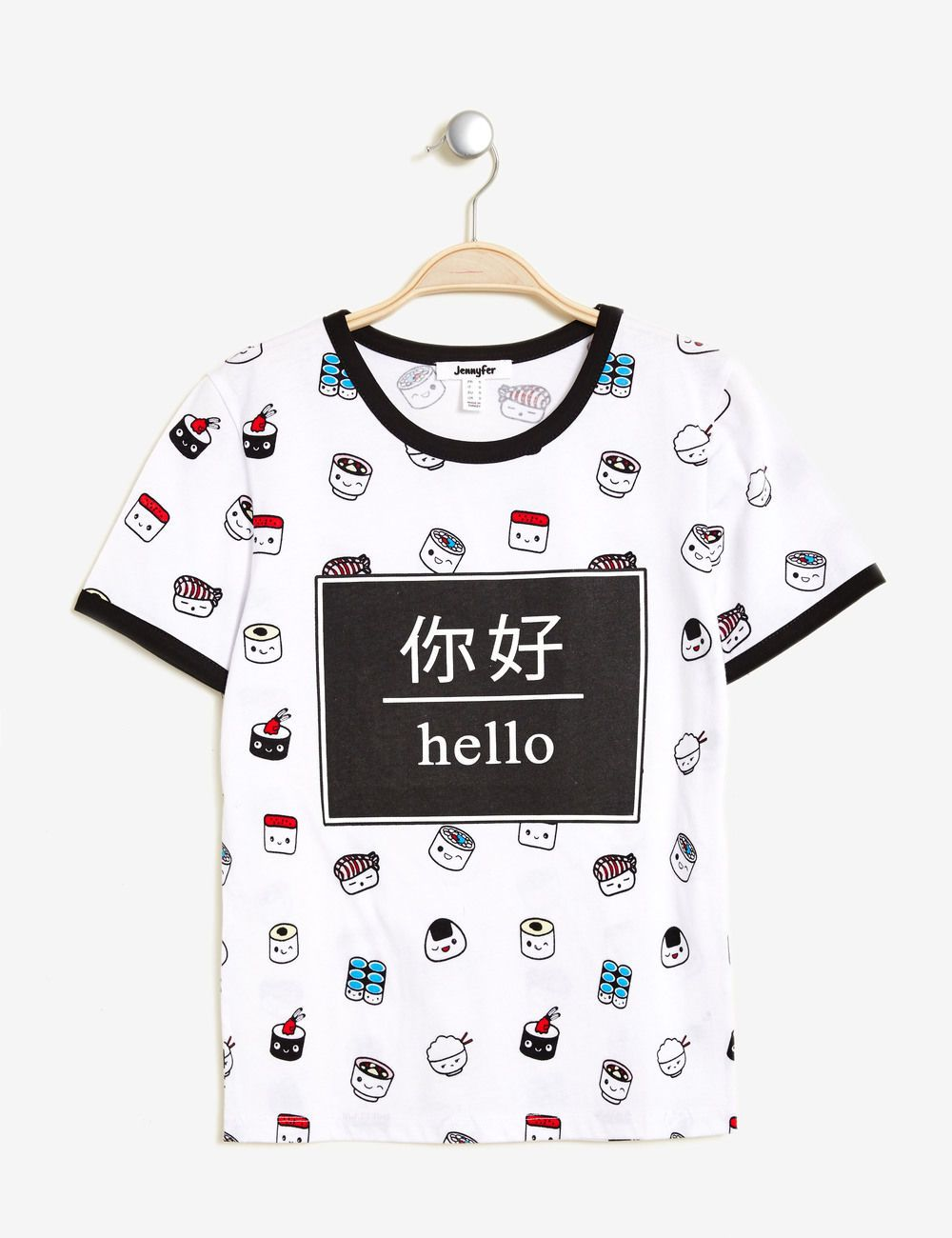 Tee Shirt Imprime Sushi Ecru Femme Jennyfer Fashion Kawaii
