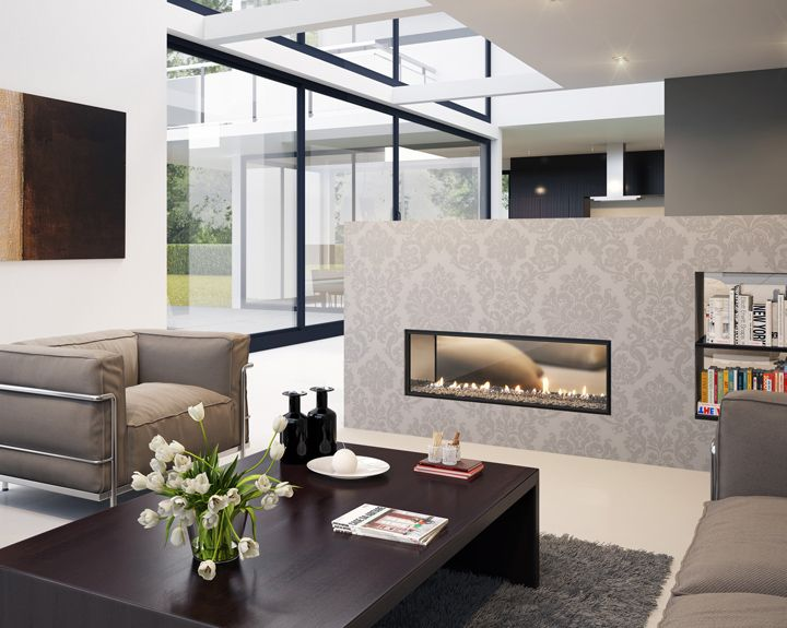 Two-sided fireplace gives room division - Open Fireplace Designs to Warm  Your Home - Two-sided Fireplace Gives Room Division - Open Fireplace Designs