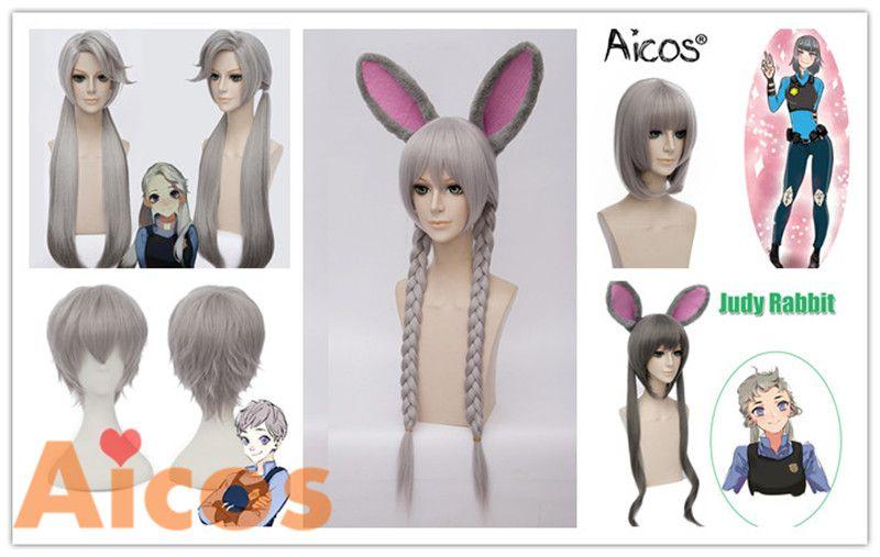 Zootopia Judy Hopps Rabbit Wig Cosplay Silvery Grey Long Braid Hair With Ears