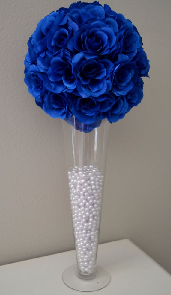 royal blue flowers for wedding royal blue flower wedding centerpiece wedding decor 7155