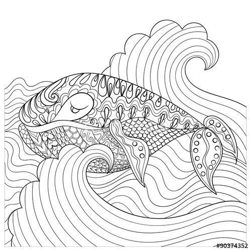 whale in the waves for anti-stress coloring page by ipanki