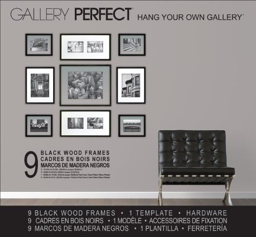 Gallery Perfect 9 Piece Black Wood Frame Kit Mixed Matted Picture Frame Sets Picture Frame Shop Decor