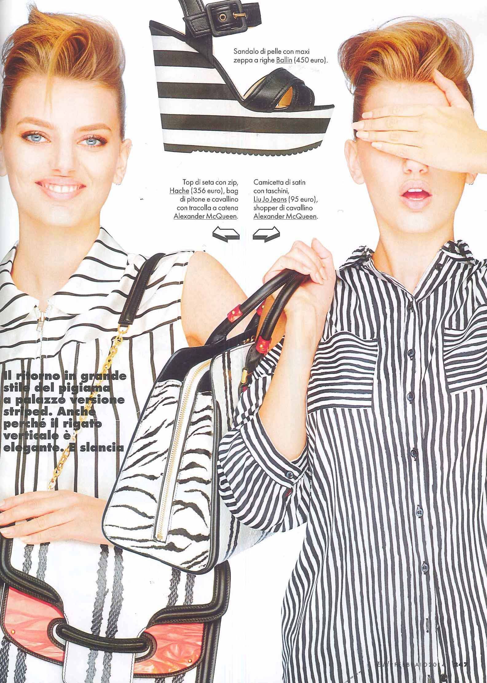STRIPED -  Elle, Feb 2014. Leather sandal with striped wedge. Soon available on http://shop.ballin-shoes.it/