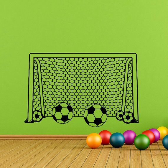 Boy Wall Decal Soccer Football Goal Net Decals by FabWallDecals