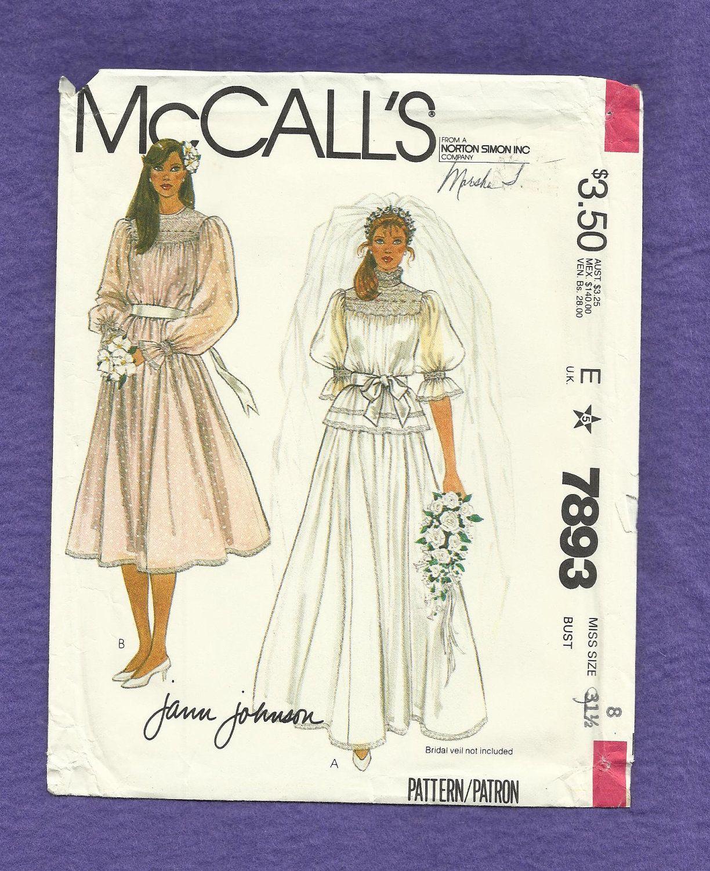 Vintage 1982 McCalls 7893 Wedding Dress Wedding gown