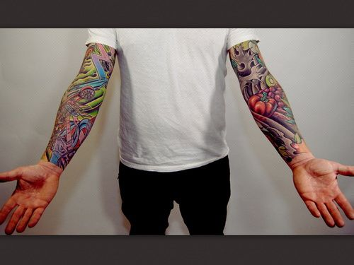 colorful full sleeve tattoos for men tattoos for men pinterest tattoo tatting and color. Black Bedroom Furniture Sets. Home Design Ideas