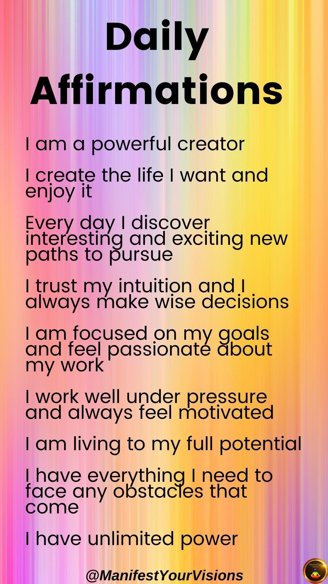 Affirmations for Manifestation   Positive self