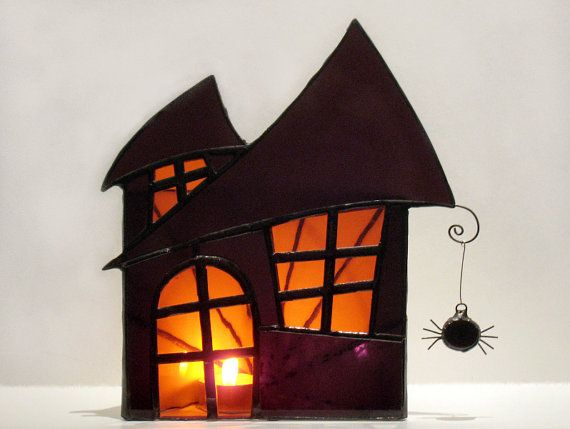 Halloween Decoration Stained Glass Candle Holder Large Haunted House - decorate house for halloween