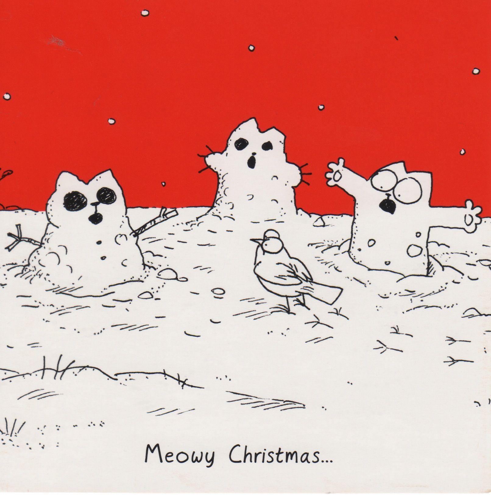 Christmas Card  Simons Cat Snowman