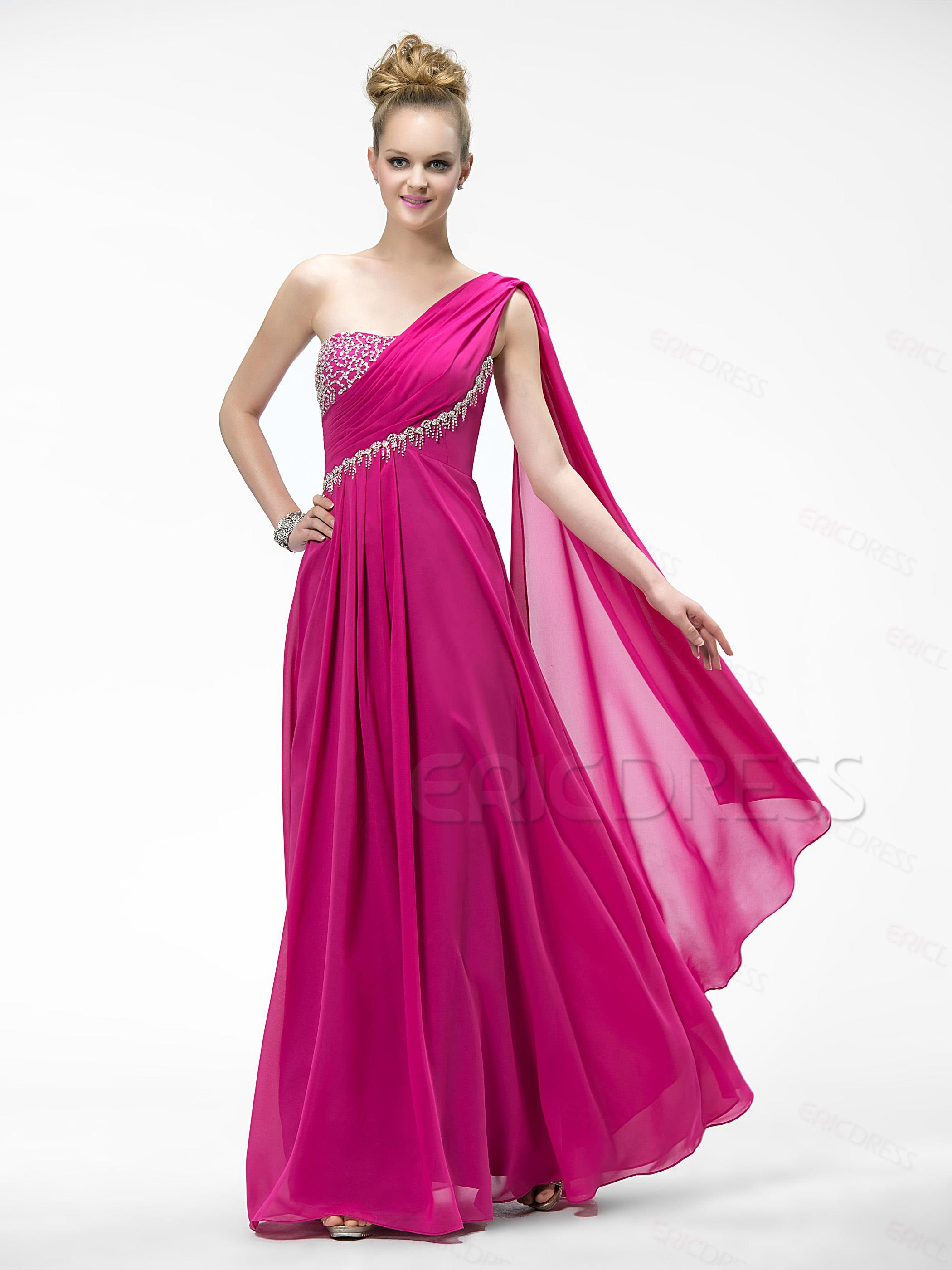 Gorgeous One Shoulder Beadings Zipper-Up Prom Dress Prom Dresses ...