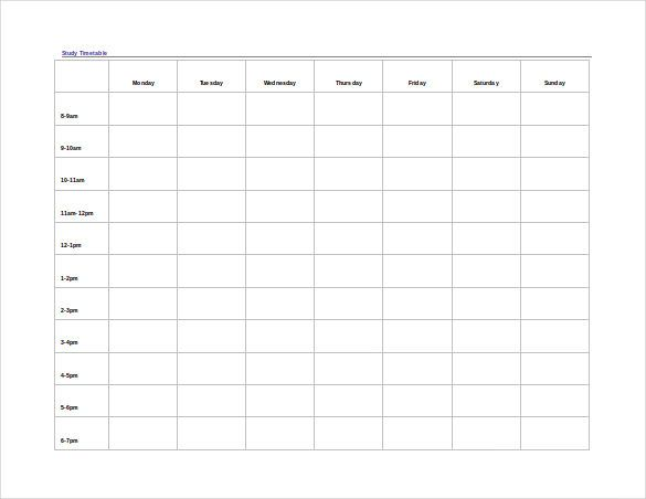 Timetable Template 9 Free Word PDF Documents Download – Timetable Template School